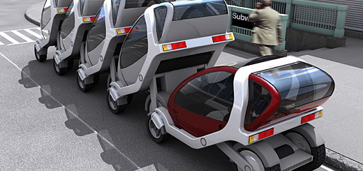 MIT's CityCar aims to hack this system with a whole new approach. ÒThe CityCar doesn't aim to replace the automobile or the subway,Ó says Media Lab researcher Ryan Chin, who's worked on the project since its inception in 2002, Òso much as to fill a niche somewhere between private vehicles and public transportation.Ó  The system works a little like a luggage cart at the airport. ÒStacksÓ of CityCars would be stationed at subway and train stops, as well as at shopping and cultural destinations around a city. While parked, the two-seaters top up their batteries to give them plenty of juice to handle round-trips of 50 miles or more. To check out a CityCar, a traveler would swipe a preauthorized smart card and roll away. When finished, cars could be returned to any stack anywhere in the city, and users would be billed based on some combination of the duration and distance of the trip. Pricing is still hypothetical, but, based on surveys, would aim for a price-point sweet spot somewhere above the cost of mass transit but less than a taxi journey of similar distance.