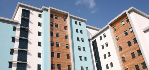Stylish modern apartment block with softwood cladding detailing