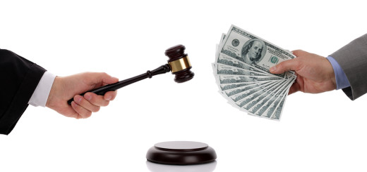 Judge hitting gavel and businessman giving one hundred dollar bills concept for corruption, business crime, bribing, fine or paying at an auction