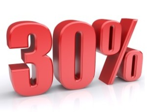 Red 30% percentage rate icon on a white background. 3d rendered image